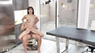 Incest and creampie in the kitchen by stepbrother and stepsister