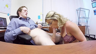 Young stepson gives incest stepmom cunnilingus after she sucks cock