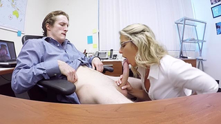 Stepson sits on the chair and enjoys blowjob by incest stepmom