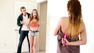 Young stepsisters share stepbrother's huge phallus in incest clip
