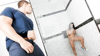 Russian stepsister gives blowjob in the shower