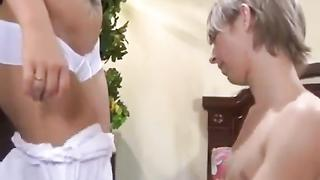 Skinny son caught sniffing mom's panties