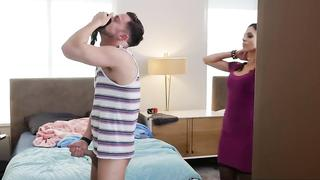 Mom catches step son sniffing her panties and jacking off in his room.