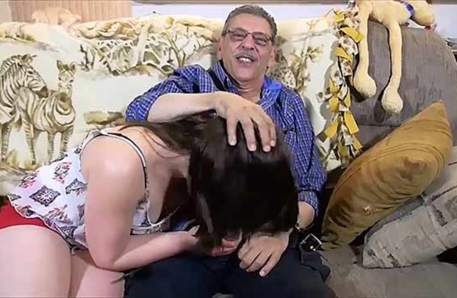 Grandpa makes hard cock enter inside granddaughter's mouth in incest video