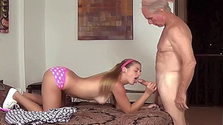Grandpa and blonde granddaughter have awesome incest sex in hotel
