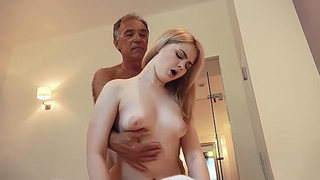 Skillful grandpa stretches blonde granddaughter in incest sex video