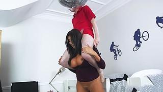 Mad giantess stepmom femdom fucks her tiny stepson