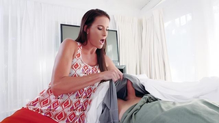 Mature stepmom checks temperature her stepson with her pussy