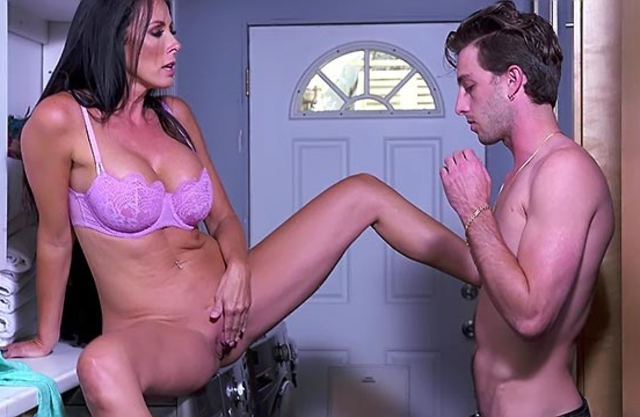 Laundry becomes ideal place for incest sex of hot stepmom and stepson