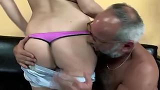 Perverted Grandpa Rips Granddaughters Towel