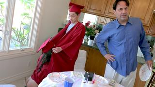 Stepsister and stepbrother have incest sex celebrating graduation