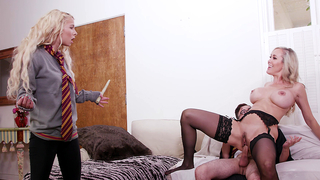 Blonde celebrates Halloween by having incest sex with BF and her mom