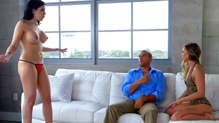 Incest discussion between a busty brunette, a petite blonde and a stud