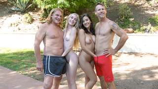 Older males receive incest blowjob by winning daughters outdoors