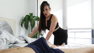 Finger-licking MILF deals with son's boner in incest porn video