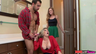 Girl sucks XXX cock under table provoking mom to have family sex with BF