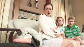 Nerdy mom is going to show son and girlfriend how to use strapon