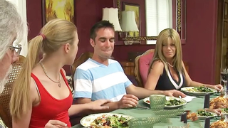 Usual dinner ends for buddy with incest polishing of his hard manhood