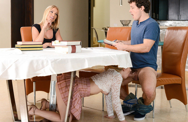 Teens and blonde MILF have taboo threeway instead of studying for exams