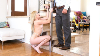 For multiple cheatings blonde has incest fuck with strict stepfather