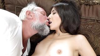 Cute granddaughter and grandpa receive XXX pleasure from incest foreplay