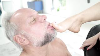 Horny grandpa practices incest foot fetish before fucks XXX granddaughter
