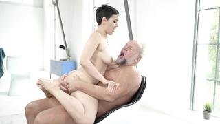 Incest grandpa fucks XXX granddaughter from behind after cock riding