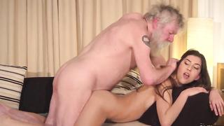 Bearded incest loving grandpa fucks granddaughter in different XXX positions