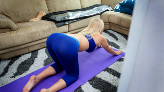 Hot blonde mom interrupts stretching in favor of incest blowjob