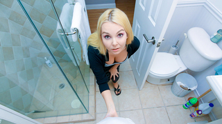 Bathroom is a place where blonde cutie gives son incest blowjob