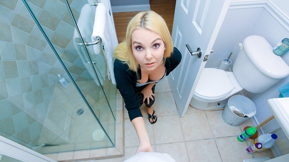 Blonde Step Mom Catches Son