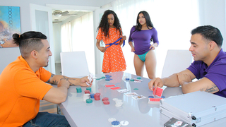 Dads win daughter in strip poker but babes win in incest foursome
