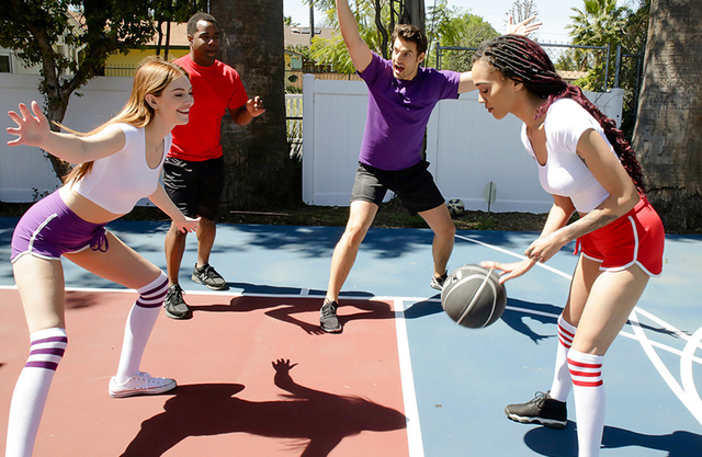 White and black daughters play basket and have incest with their dads