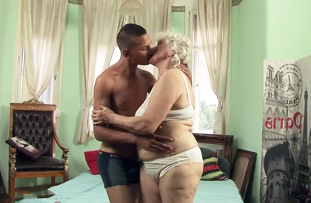 Сhubby grandma takes own young grandson's hard cock