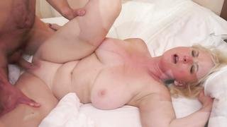 Rimjob for grandson! Busty grandma takes hard young cock
