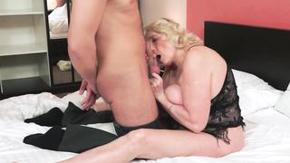 Chubby grandma, is horny as hell for the young cock own grandson