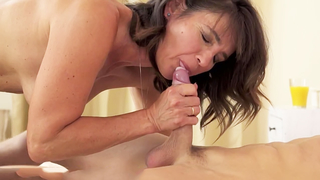 Busty grandma gives amazing blowjob and tastes cum after riding cock