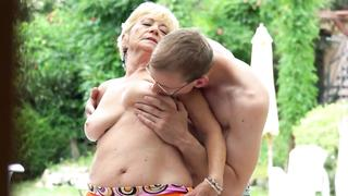 Seductive grandma banged doggystyle by grandson cock in the outside