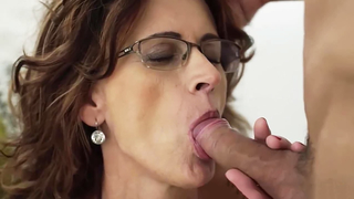 Glasses grandma loves taking young grandson cock
