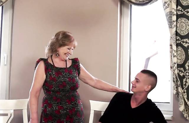 Lovely bigass grandma banged and gives blowjob after missionary