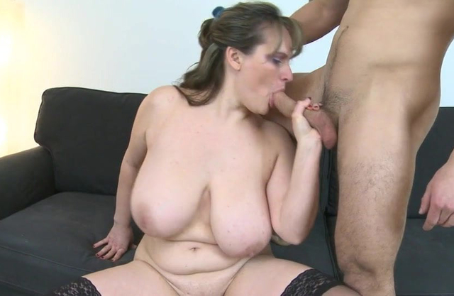 MOM with big saggy tits fucks young son