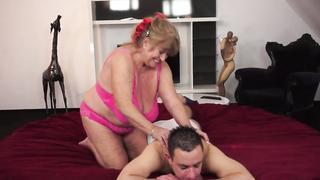 Сhubby grandma banged and tittyfucked in hotel room by beloved grandson