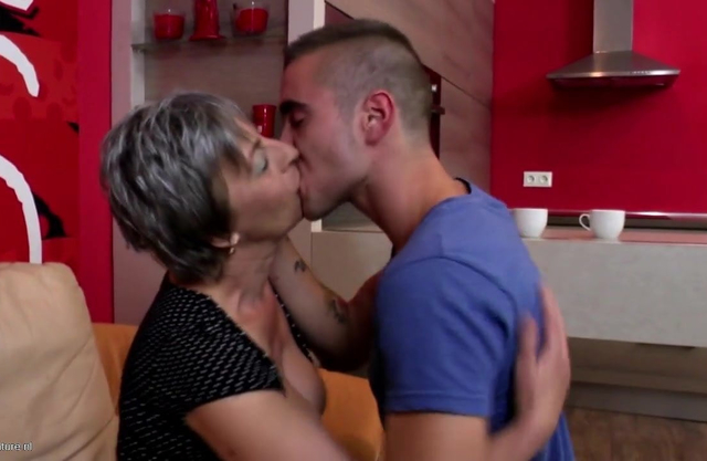 Very old grandma takes young cock after kofe