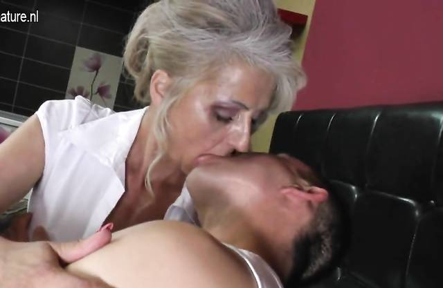 Lovely and hairy grandma hard fucked by young grandson