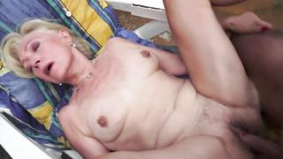 Trimmed pussy grandma orally pleasured and fucked outdoors own grandson