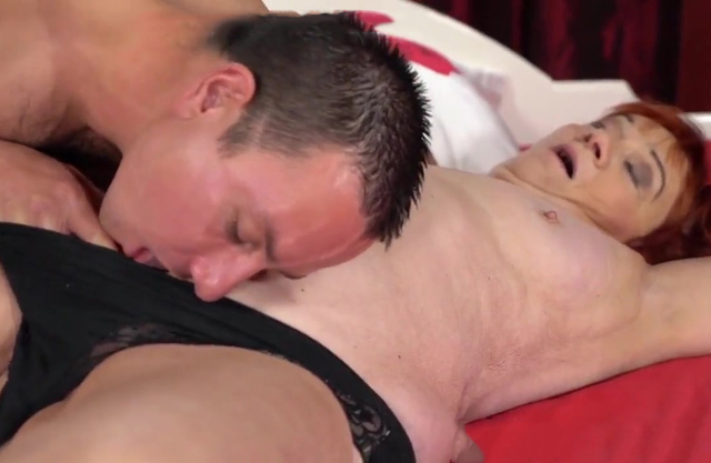 Grandma loves riding a grandson young stiff cock in cowgirl position