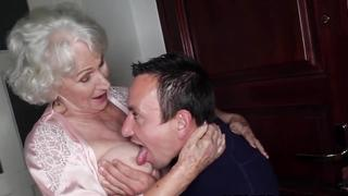 Busty elder grandma sucks own grandson cock before penetration