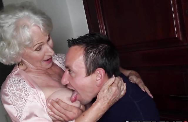 Busty elder grandma sucks own grandson cock before penetration