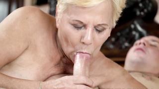 Seductive grandma wanks off before big cock insertion
