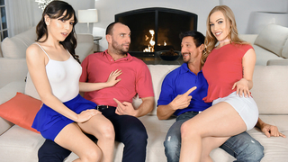 Males love each other's daughter giving them incest blowjob on the sofa